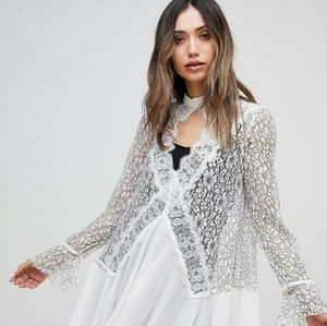 Free People Tell Tale lace raw hemmed Tunic